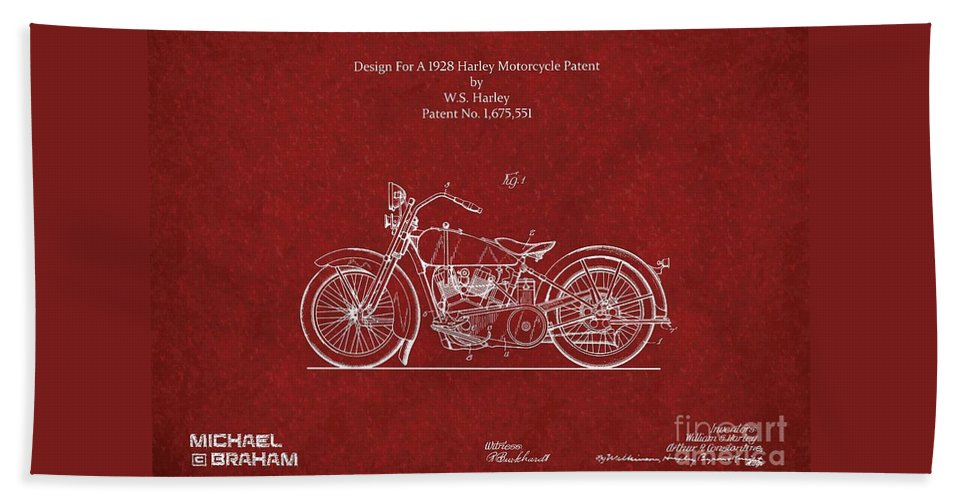 Harley Bath Sheet featuring the photograph Original Design For A 1928 Harley Motorcycle by Doc Braham