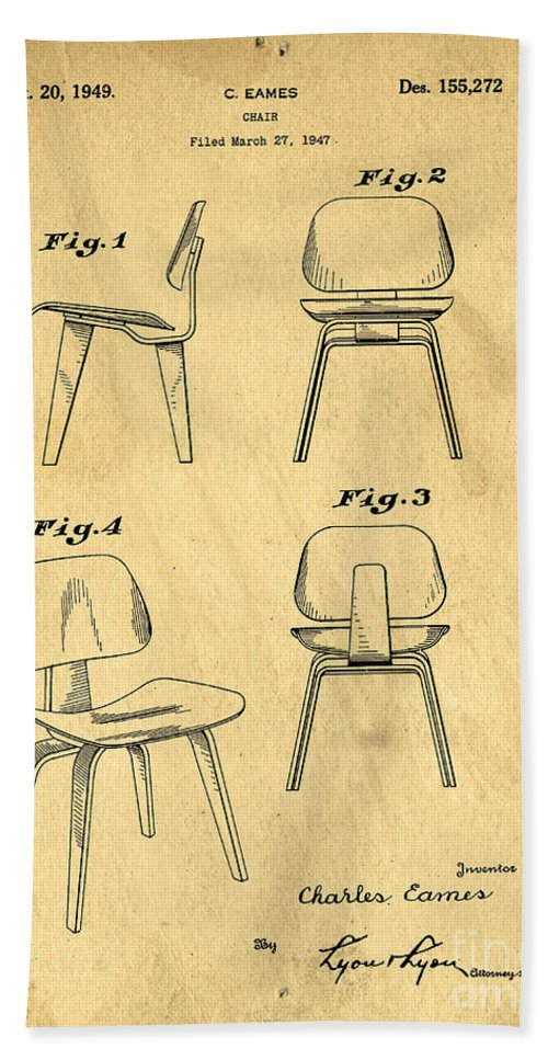 Patent Hand Towel featuring the digital art Designs For A Eames Chair by Edward Fielding