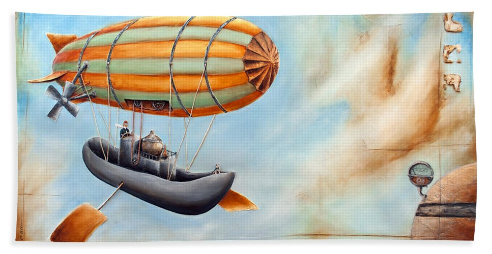 Steampunk Hand Towel featuring the painting Destination Un-known by Carlo Allion