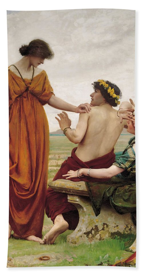 Thomas Cooper Gotch Hand Towel featuring the painting Destiny by Thomas Cooper Gotch