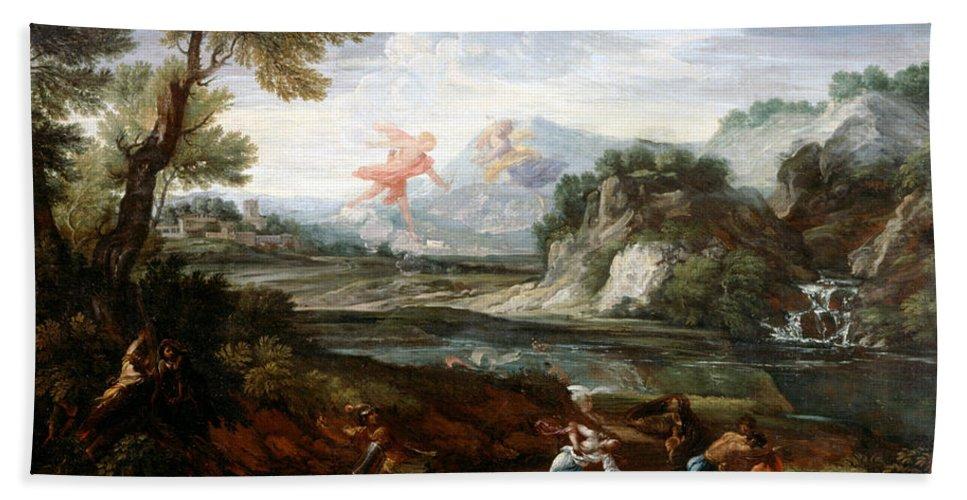 Crescenzio Onofri Bath Sheet featuring the painting Destruction Of Niobes Children by Crescenzio Onofri