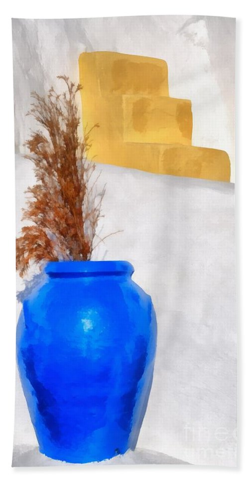 Santorini Bath Sheet featuring the painting Detail In Oia Town by George Atsametakis