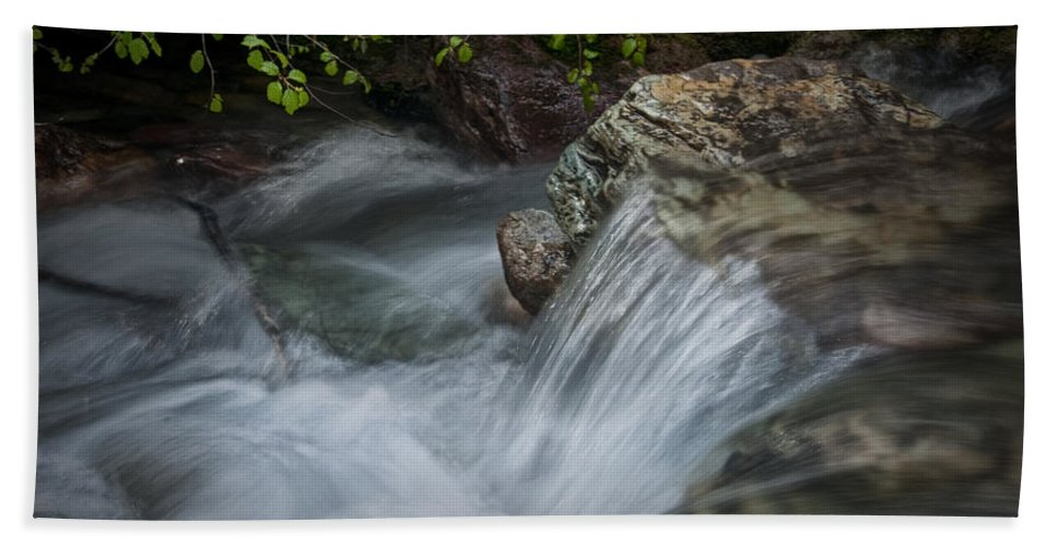 Art Hand Towel featuring the photograph Detail Of A Small Water Fall In A Stream by Randall Nyhof
