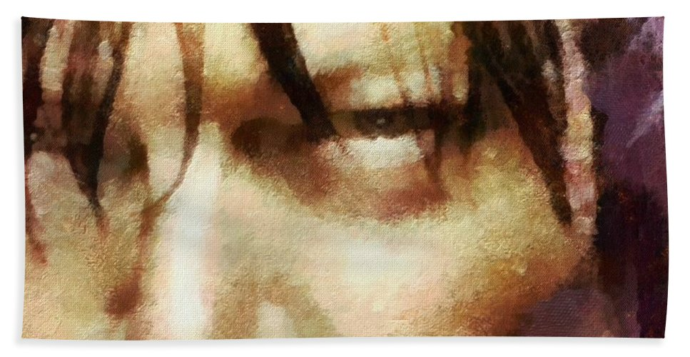 Daryl Dixon Bath Towel featuring the painting Detail Of Daryl Dixon by Janice MacLellan