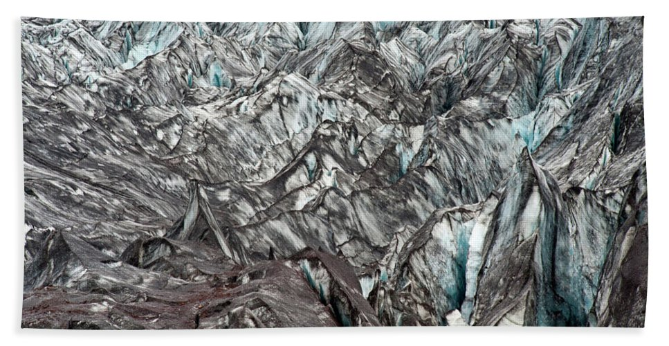 Backgrounds Hand Towel featuring the photograph Detail Of Icelandic Glacier by Arthur Meyerson