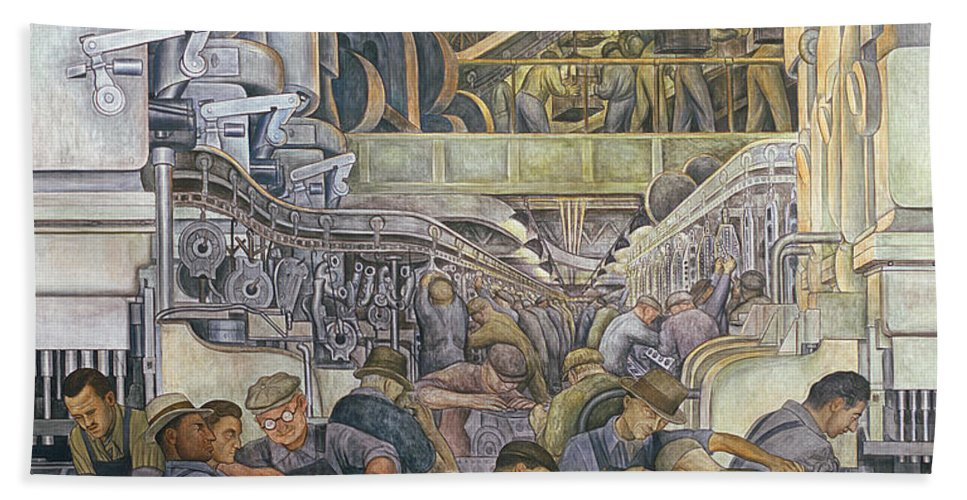 Machinery Bath Towel featuring the painting Detroit Industry North Wall by Diego Rivera