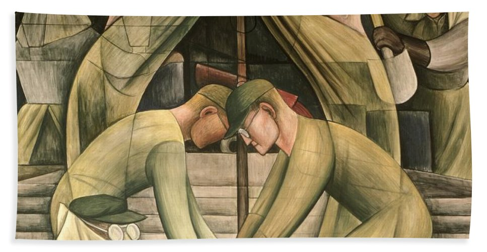 Ford Hand Towel featuring the painting Detroit Industry South Wall by Diego Rivera