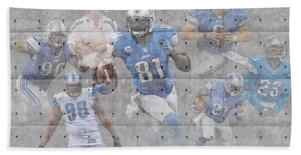 Lions Bath Sheet featuring the photograph Detroit Lions Team by Joe Hamilton