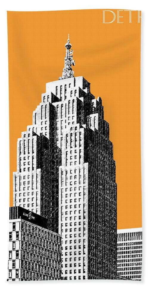 Detroit Hand Towel featuring the digital art Detroit Skyline 2 - Orange by DB Artist
