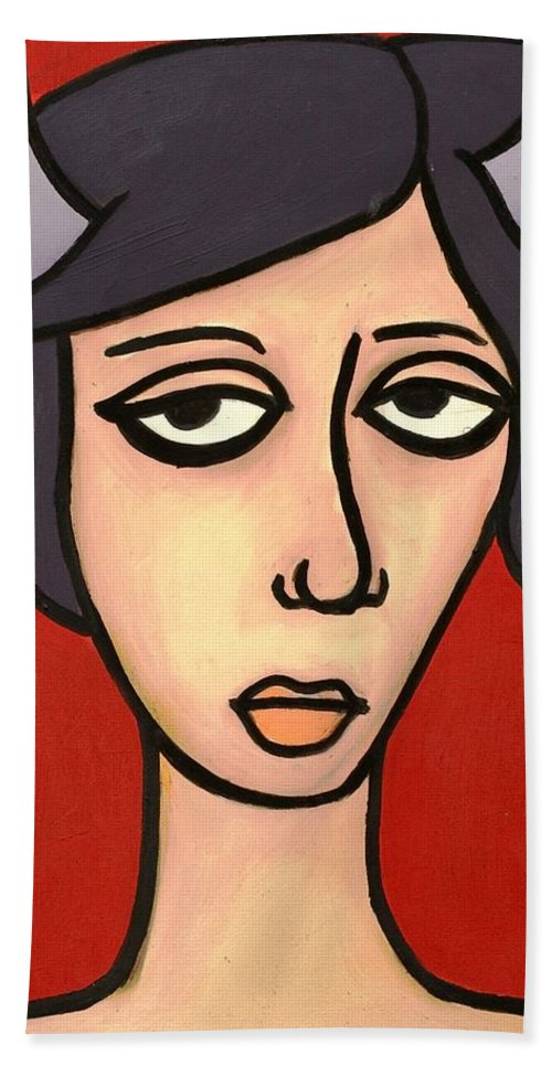 Clay Hand Towel featuring the painting Devil Girl by Thomas Valentine