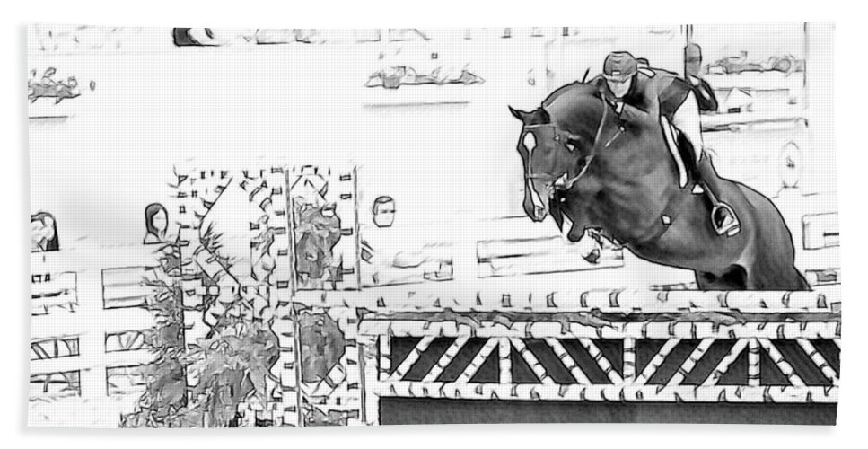Devon Horse Show Jumper Hunter Horse Pencil Look Bath Sheet featuring the photograph Devon Jumper by Alice Gipson