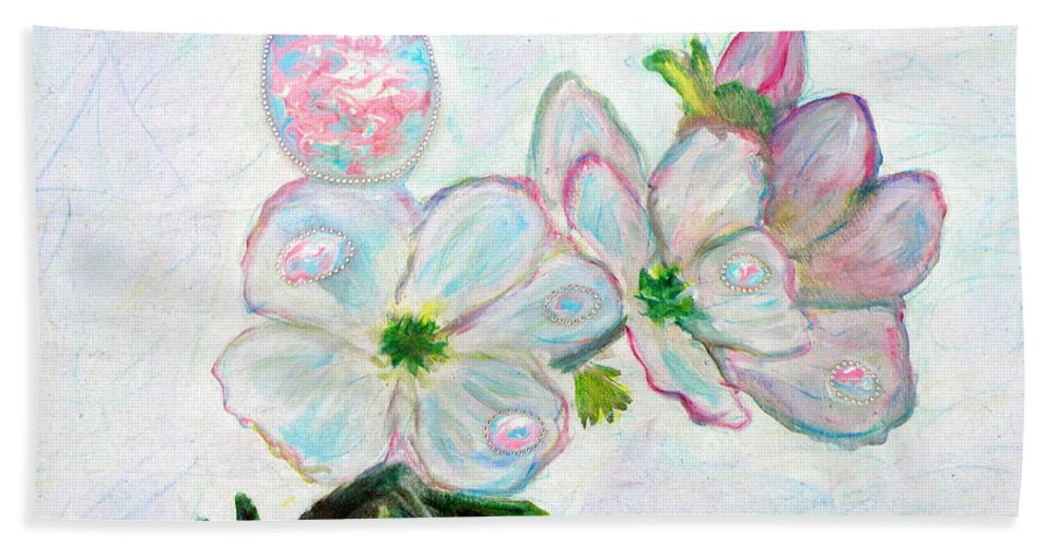 Augusta Stylianou Hand Towel featuring the painting Dew And Smell Of Almond Flowers by Augusta Stylianou
