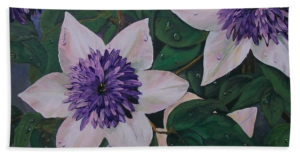Clematis Bath Sheet featuring the painting Clematis After The Rain by Sharon Duguay