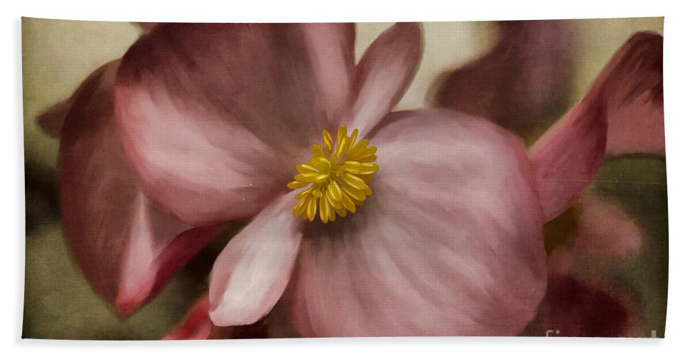 Begonia Hand Towel featuring the photograph Dewy Pink Painted Begonia by Lois Bryan