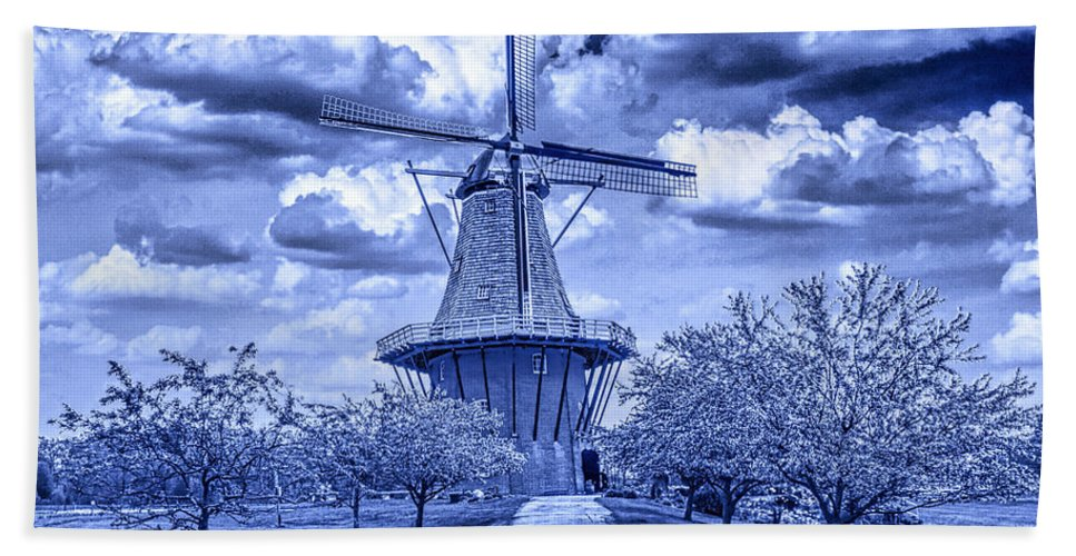 Art Bath Sheet featuring the photograph deZwaan Holland Windmill in Delft Blue by Randall Nyhof