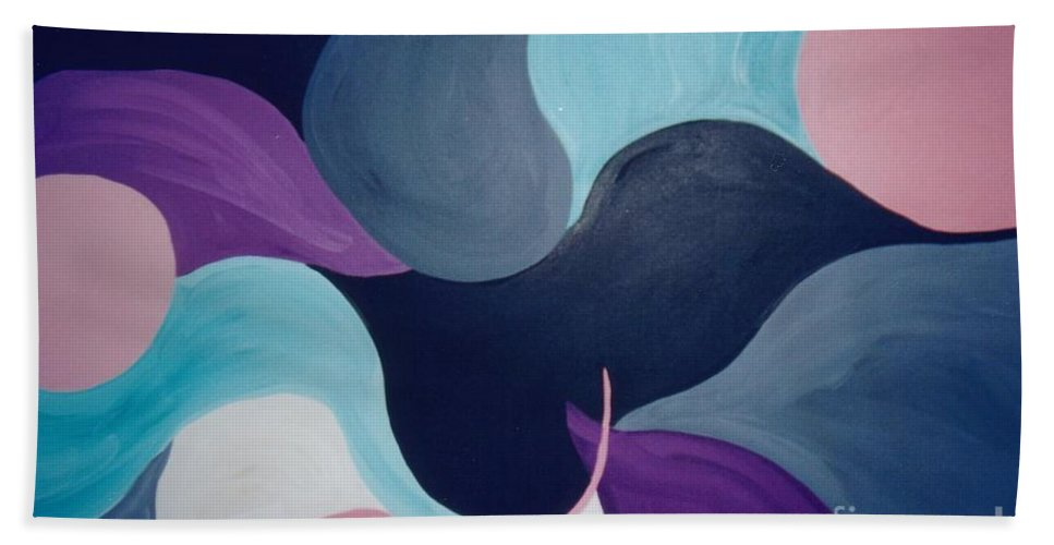 Abstract Hand Towel featuring the painting Dialogue by Graciela Castro