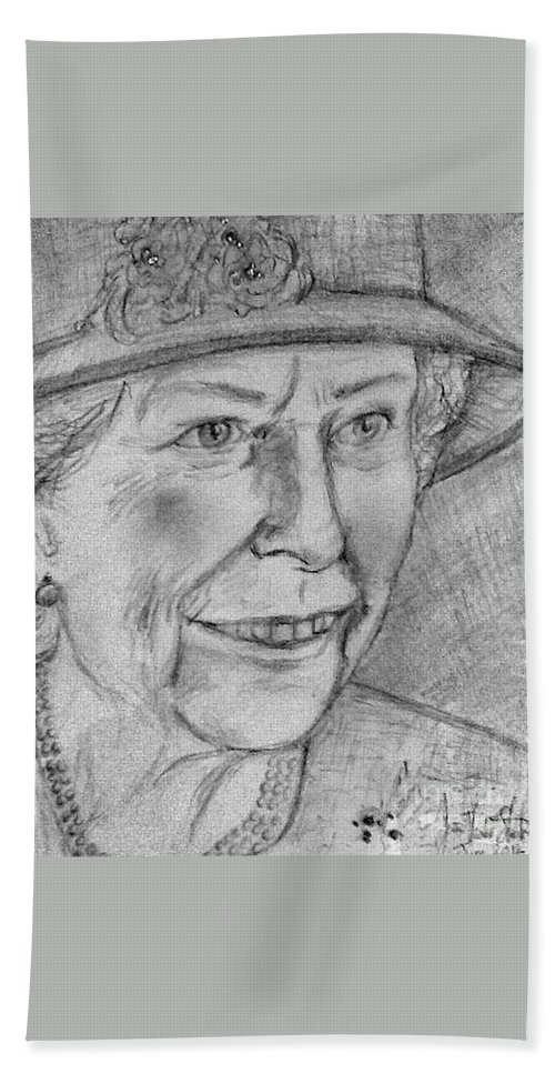 The Queen Hand Towel featuring the drawing Diamond Jubilee Queen by Joan-Violet Stretch