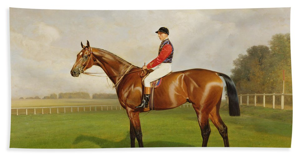 Horse Hand Towel featuring the painting Diamond Jubilee Winner Of The 1900 Derby by Emil Adam