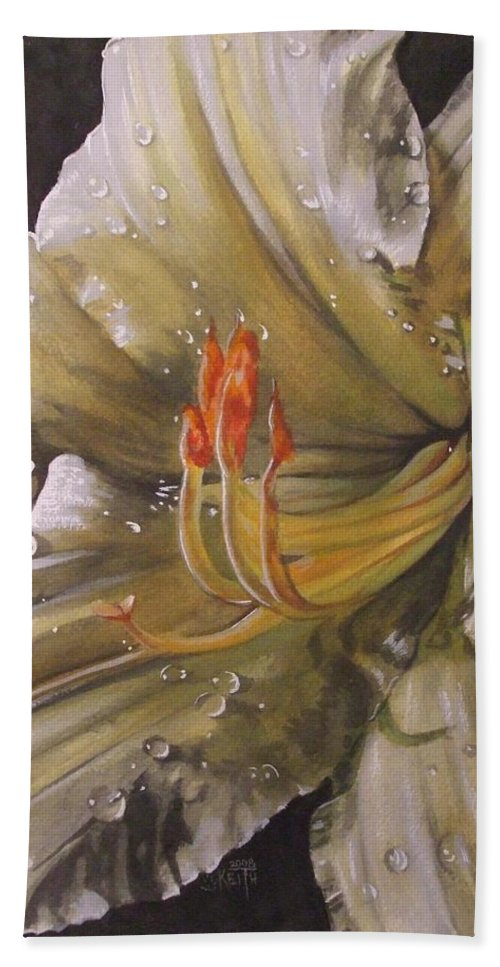 Daylily Hand Towel featuring the painting Diamonds by Barbara Keith