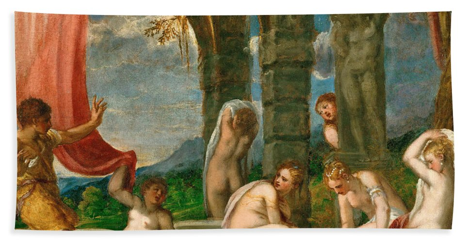 Andrea Schiavone Bath Sheet featuring the painting Diana And Actaeon by Andrea Schiavone