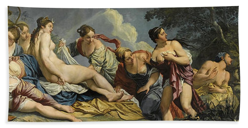 Giacomo Ceruti Hand Towel featuring the painting Diana And The Nymphs Surprised By Actaeon by Giacomo Ceruti