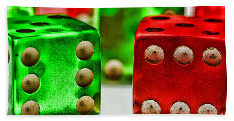 Paul Ward Hand Towel featuring the photograph Dice - Boxcars by Paul Ward