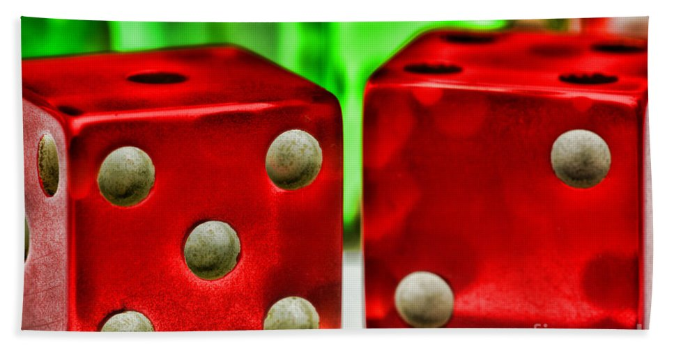Paul Ward Hand Towel featuring the photograph Dice - Lucky Seven by Paul Ward