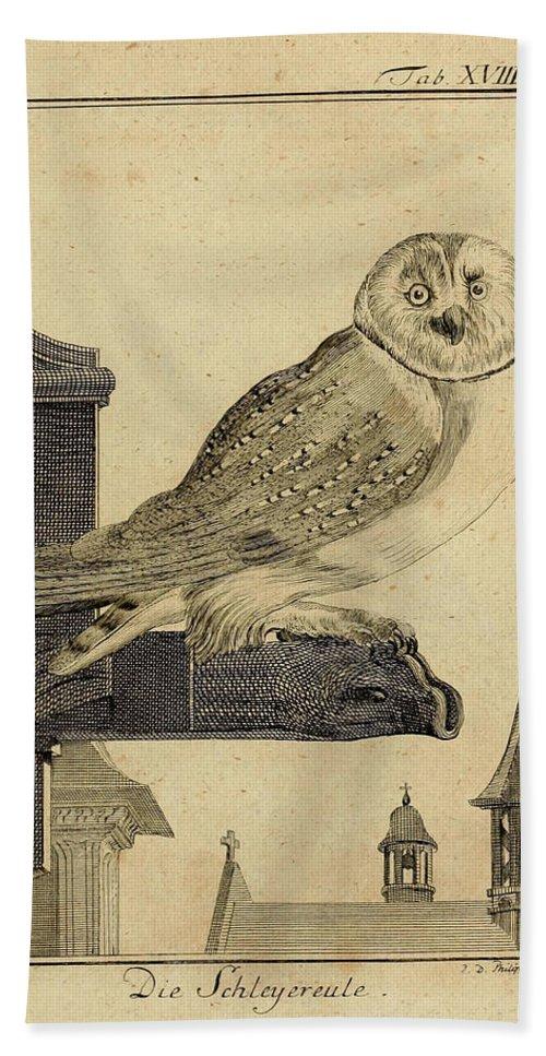 Die Bath Towel featuring the drawing Die Schleyer Eule by Philip Ralley