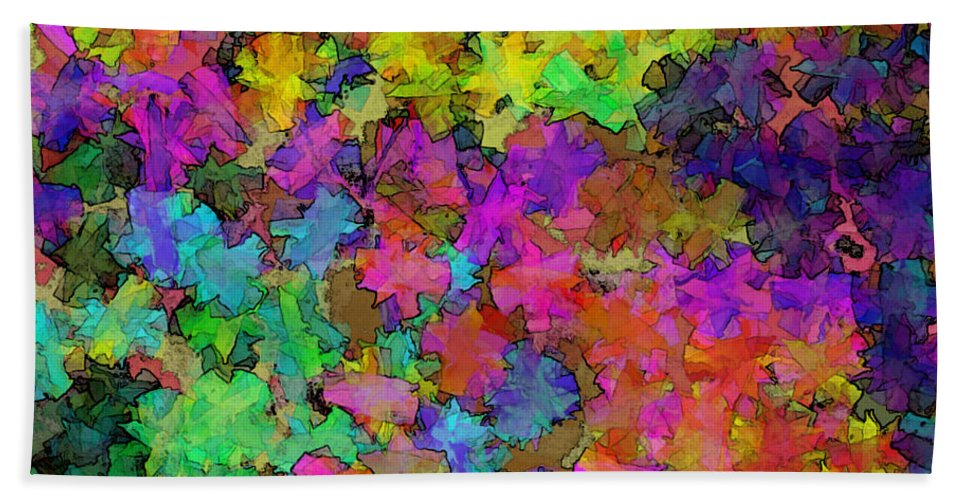 Abstract Hand Towel featuring the digital art Digiral Abstract Colors Rich by Debbie Portwood