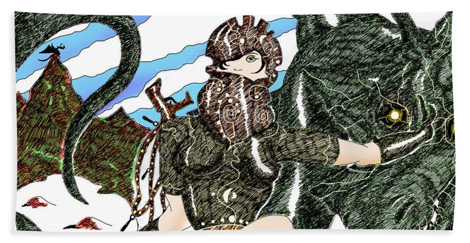 Digital Drawing Hand Towel featuring the digital art Digital Dragon Rider Colour Version by Grant Wilson