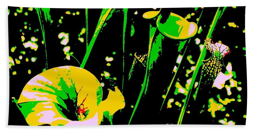 Digital Hand Towel featuring the photograph Digital Green Yellow Abstract by Eric Schiabor