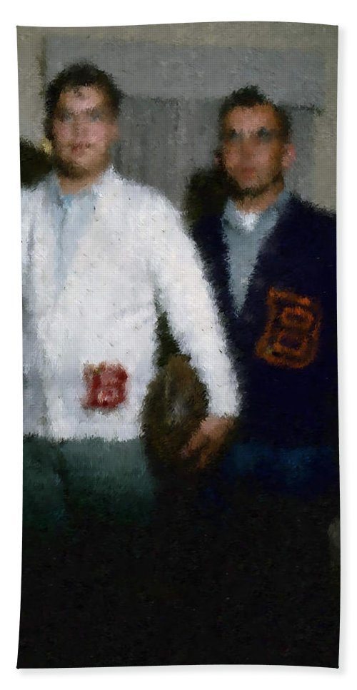 Hand Towel featuring the digital art Digital Painting The Lettermen by Cathy Anderson