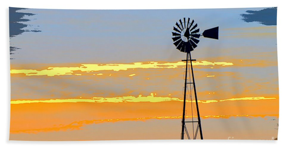 Windmill Hand Towel featuring the photograph Digital Windmill-horizontal by Gary Richards