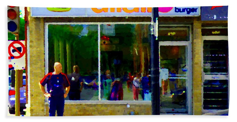 Dilallo Bath Sheet featuring the painting Dilallo Burger Notre Dame Ouest And Charlevoix Montreal Art Urban Street Scenes Carole Spandau by Carole Spandau