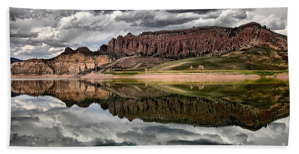 Curecanti Hand Towel featuring the photograph Dillon Reflections by Adam Jewell