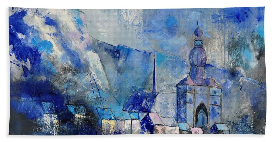 Landscape Bath Sheet featuring the painting Dinant In Blue by Pol Ledent