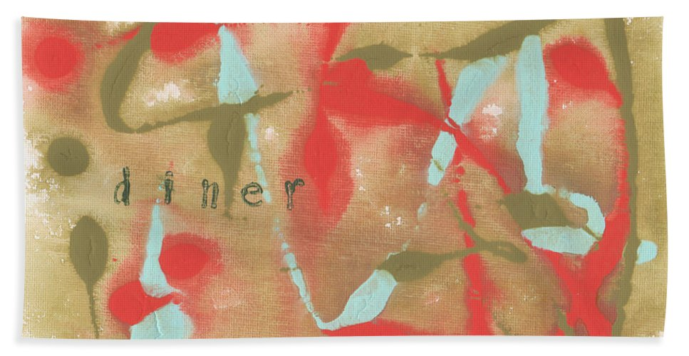 Olive Hand Towel featuring the painting Diner by Paulette B Wright