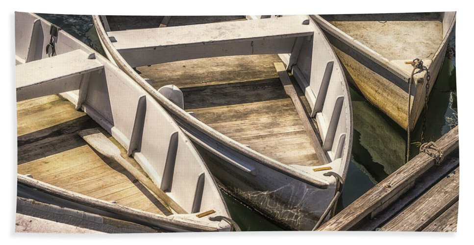 Boat Bath Sheet featuring the photograph Dinghies Dockside Faded by Jerry Fornarotto