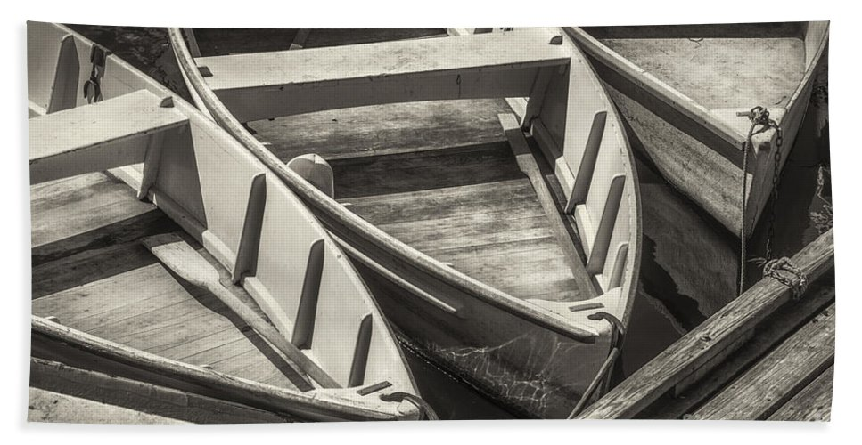 Boat Bath Sheet featuring the photograph Dinghies Dockside Bw by Jerry Fornarotto