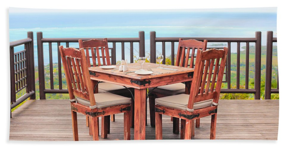 Al Fresco Hand Towel featuring the photograph Dining Table by Tom Gowanlock