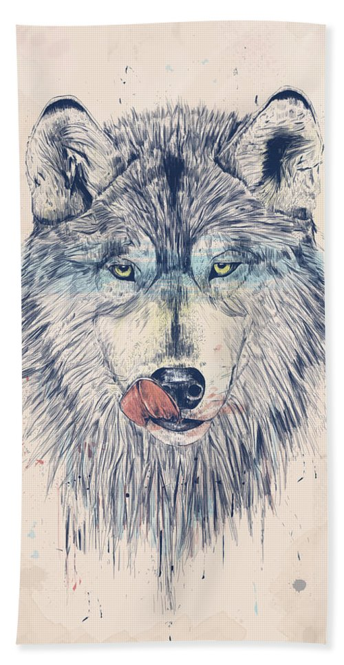 Animal Bath Towel featuring the drawing Dinner time by Balazs Solti