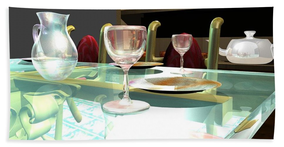 Table Hand Towel featuring the digital art Dinning Table by Artist Nandika Dutt