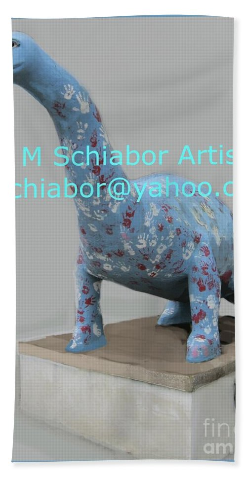 Dino Hand Towel featuring the photograph Dino The Bayville Dinosaur by Eric Schiabor