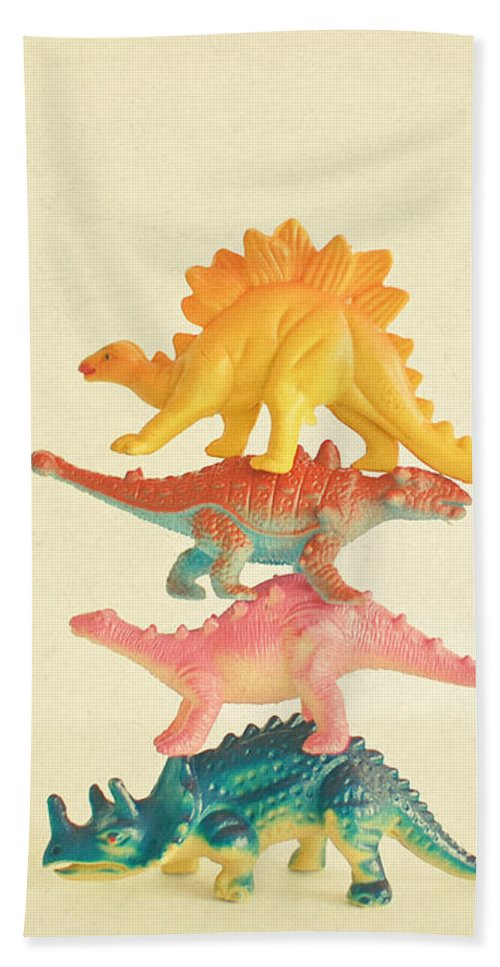 Dinosaurs Hand Towel featuring the photograph Dinosaur Antics by Cassia Beck