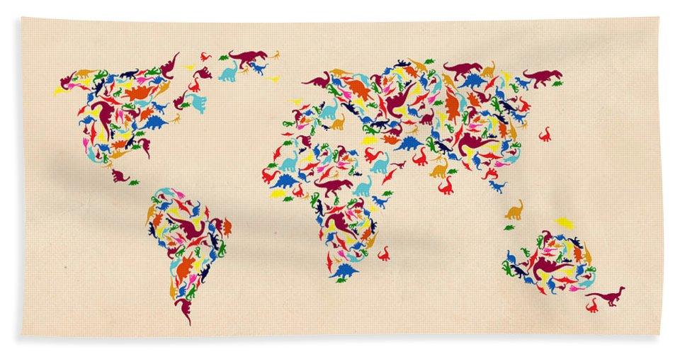 Landmark Hand Towel featuring the photograph Dinosaur Map Of The World by Mark Ashkenazi