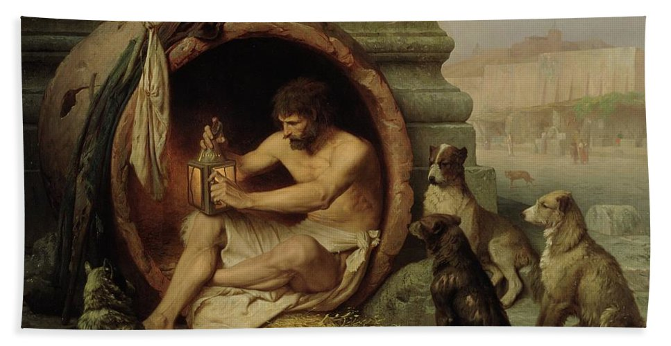 Diogenes Hand Towel featuring the painting Diogenes by Jean Leon Gerome