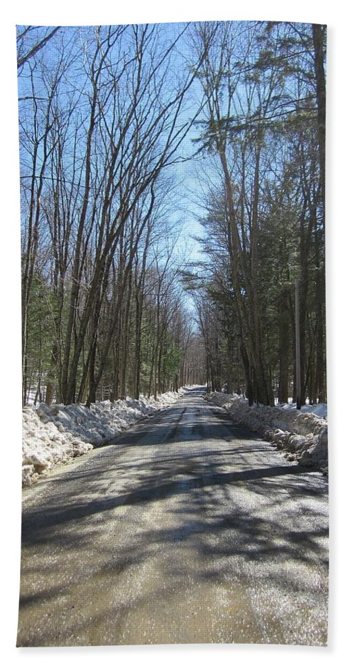 Trees Hand Towel featuring the photograph Dirt Road In March by MTBobbins Photography
