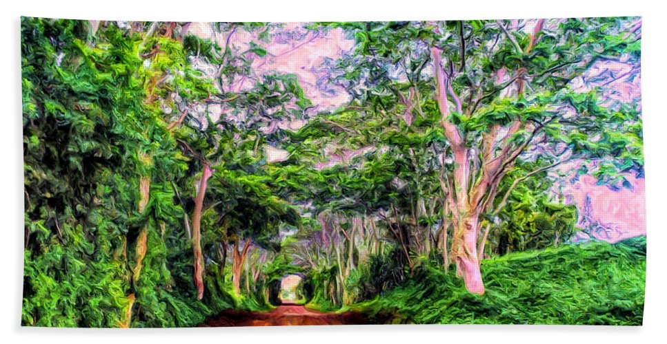 Secret Beach Hand Towel featuring the painting Dirt Road To Secret Beach On Kauai by Dominic Piperata