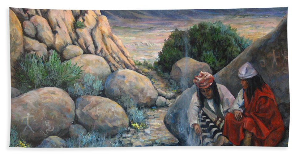 Paiute Indians Bath Sheet featuring the painting Discussion by Donna Tucker
