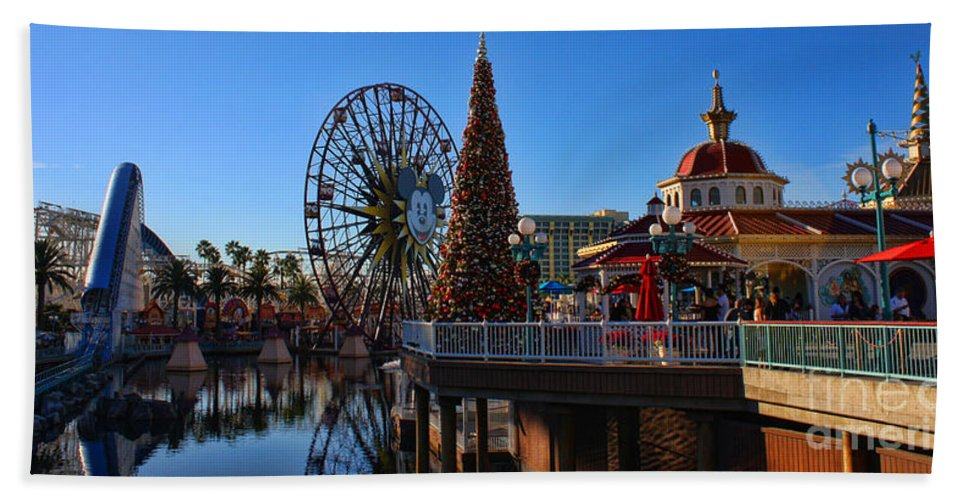 Disney California Adventure Hand Towel featuring the photograph Disney California Adventure Christmas by Tommy Anderson